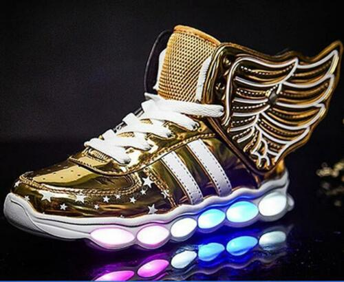 Kid Child LED Light Casual Shoes Boy Girl Luminous Laces Wing Sneaker Boots USB
