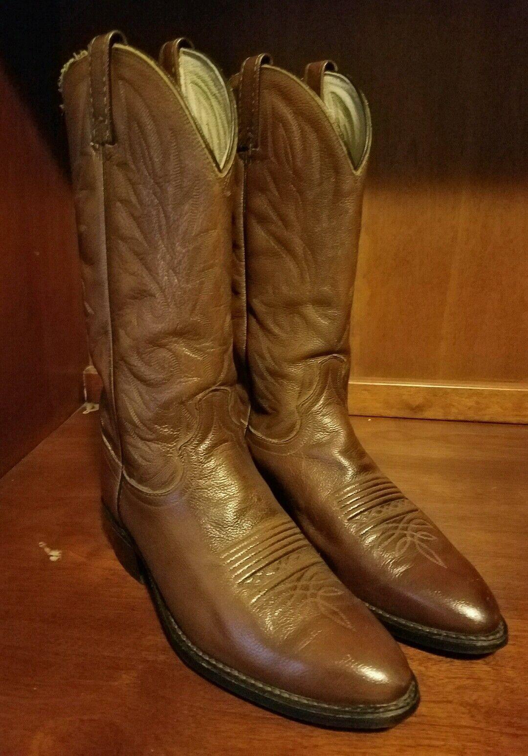 Uomo Dan Post Brown Western Soft Grain Calf Pelle Size 8.5 D **Style 111 R