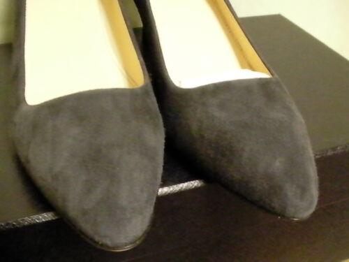 Femme Prada Gris Noir Pointu Bout Classique Chaussures Daim 11qCxdwrH
