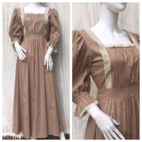 Dress Prairie Vintage LAURA ASHLEY 70s Maxi Pinafo