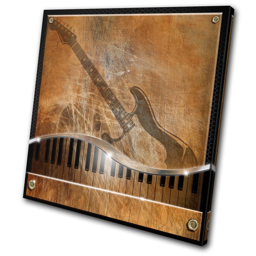 Musical Music Piano Guitar  SINGLE TOILE murale ART Photo Print
