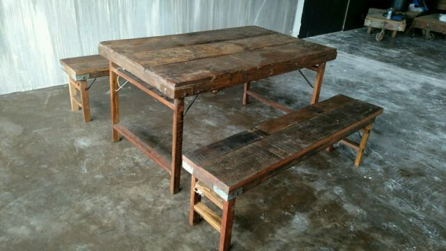 Vintage Farmhouse Table And Bench Set India Wedding Table Set For Sale Online