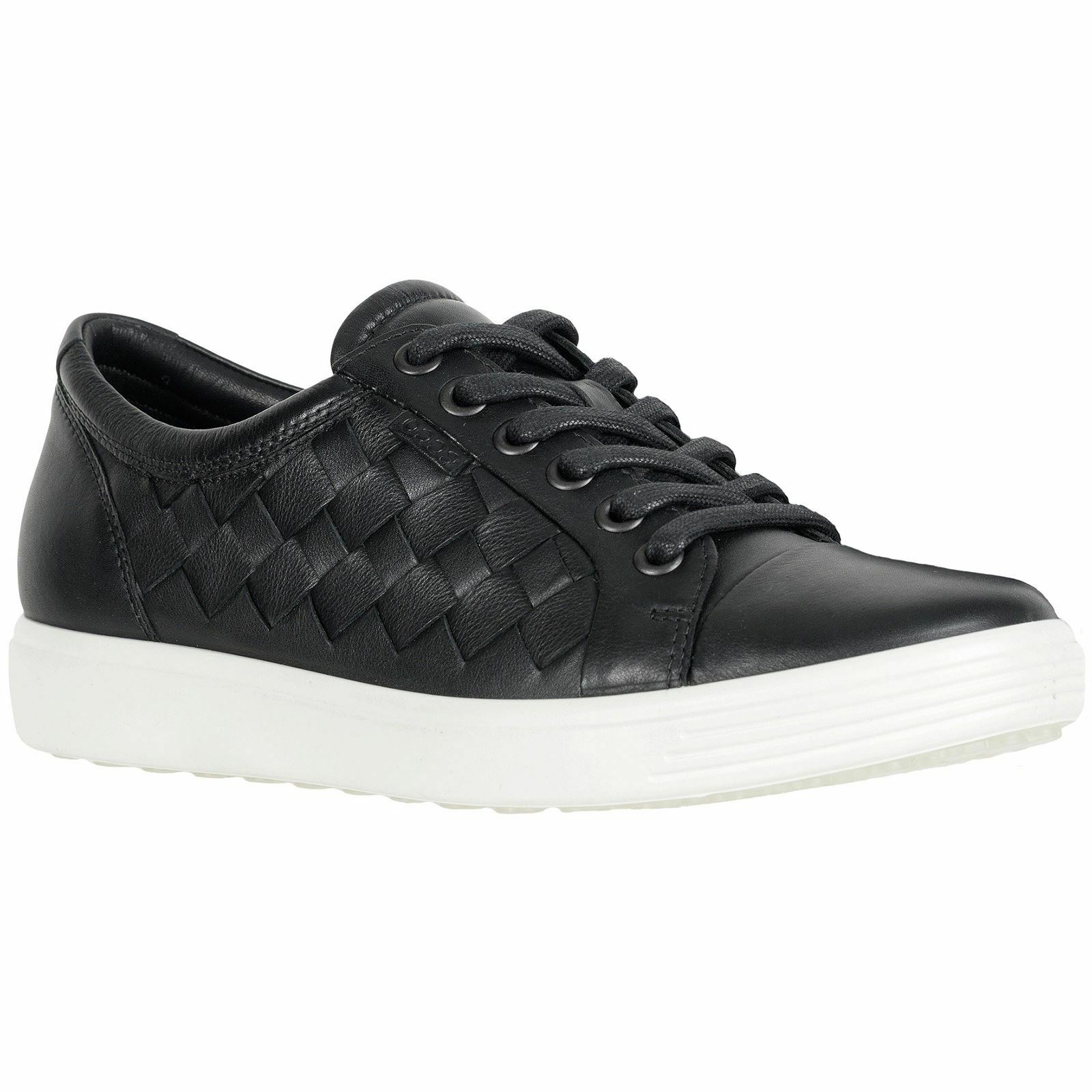 Ecco Soft 7 Black Womens Leather Casual Low-profile Lace-up shoes