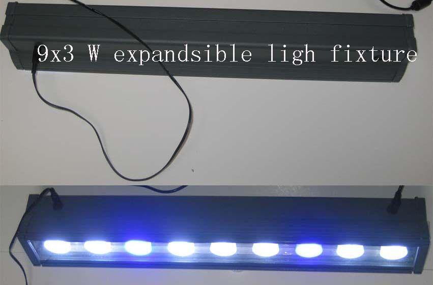 "9x3W 21"" expansible LED Aquarium Reef  light fixture. 12,000K"