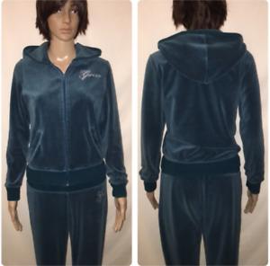 7aeac32ca95 Guess Bling Velour Tracksuit - Zip Up Hoodie   Pants Teal Medium