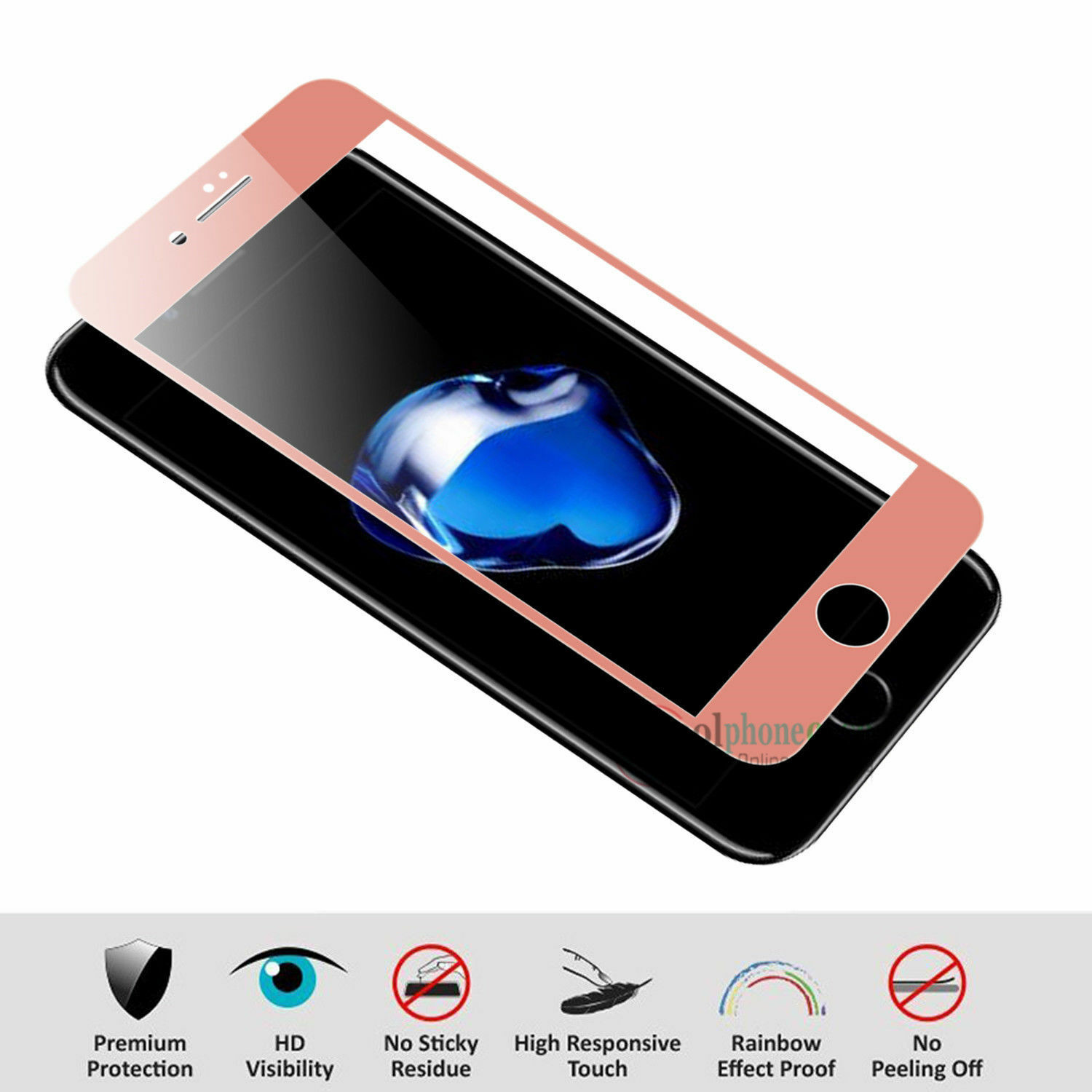 iPhone 8 MWGEARS Caesar 3D Tempered Glass for iPhone 7 White