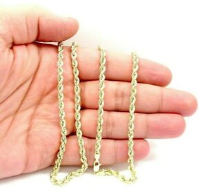 6f5c0eacf7cf9 Details about 18K Solid Gold Rope Chain Necklace Men Women 3mm 16