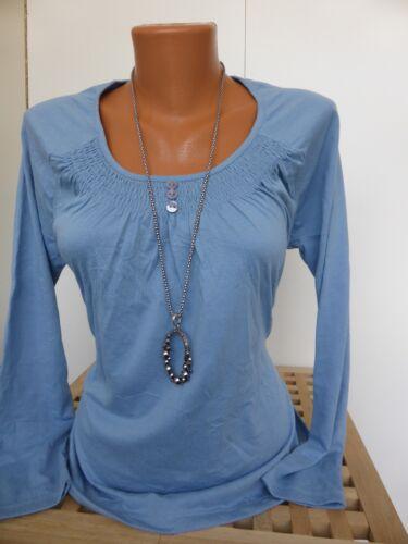 Cheer Shirt Taille 40 à 44 manches longues bleu avec froncée NEUF 445