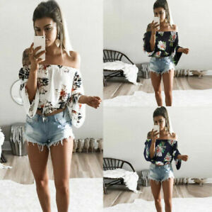 Tops-Women-Ladies-Summer-Long-Sleeve-Off-Shoulder-T-Shirt-Casual-Blouse-Shirt