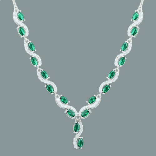 18K White Gold Gp Marquise/&Round Green Emerald CZ Clear Topaz Choker Necklace