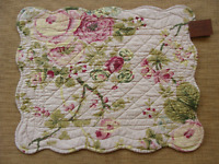 Rosie Quilted Placemat - Country Cottage, Flowers - Pinks, Greens