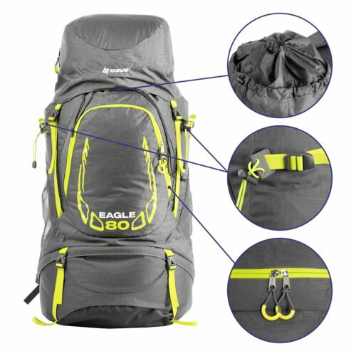 80L EAGLE Large Lightweight Waterproof Framed Hiking Backpack with Rain Cover
