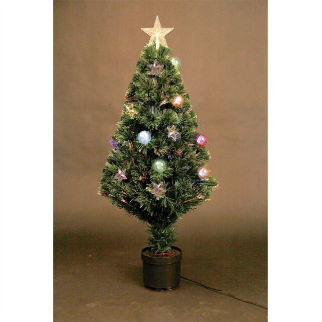 Fibre Optic Christmas Tree With Baubles.2ft 60cm Led Fibre Optic Christmas Tree Pre Lit Stars Baubles Decorations Lights