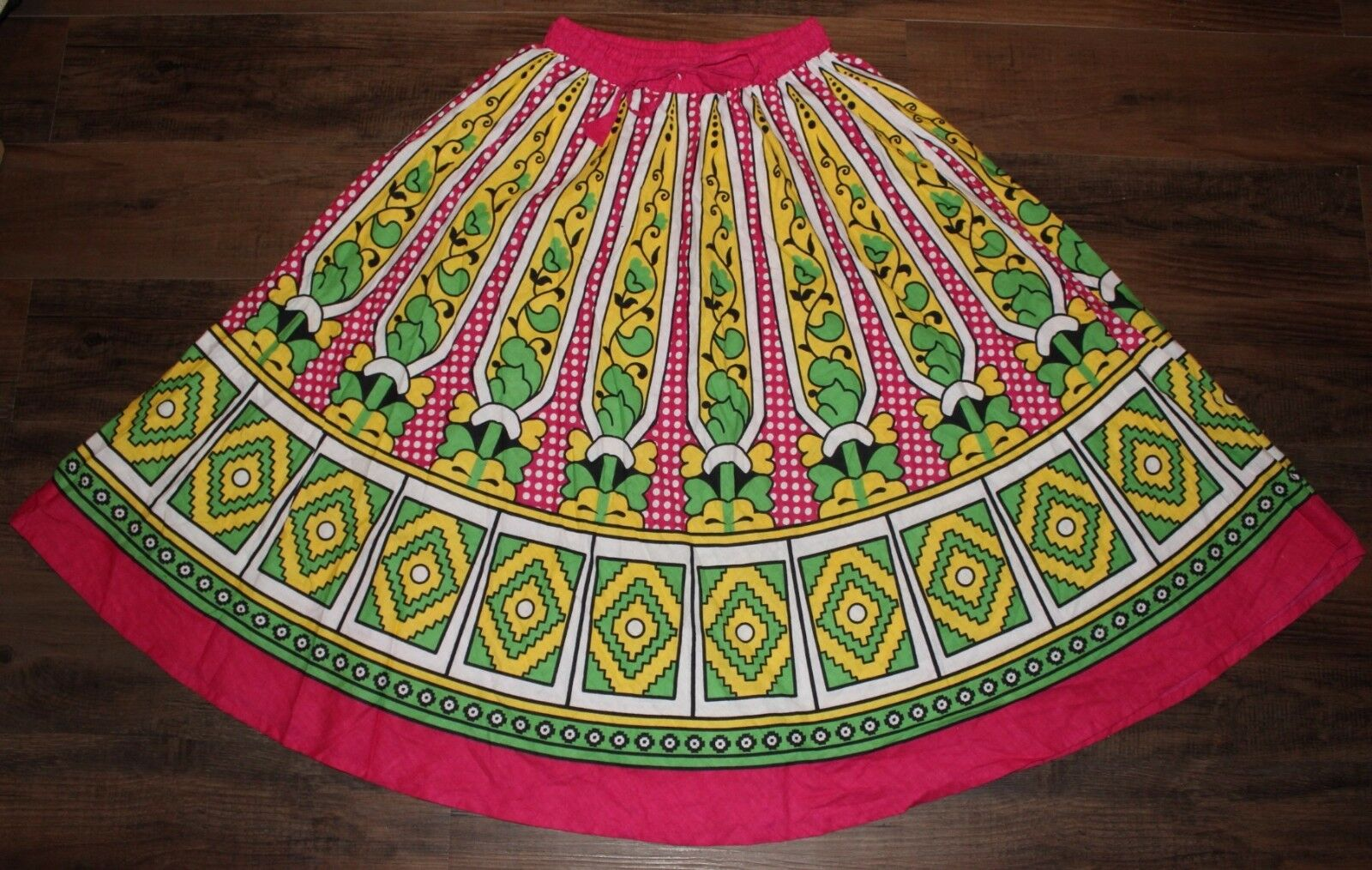 Vintage Mam Size Large Fits Small Med Pink Yellow Green Circle Swing Skirt