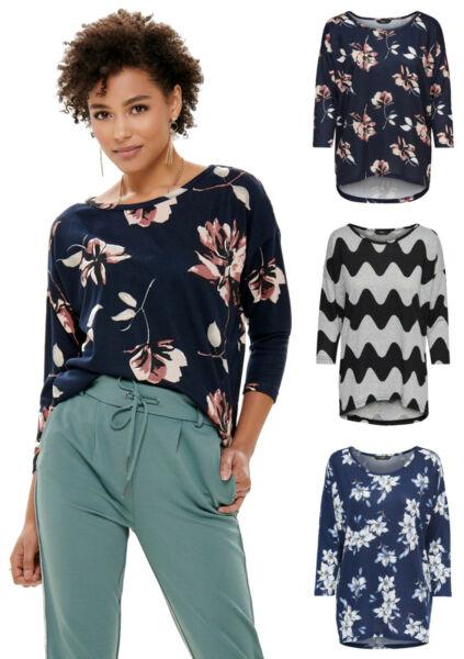 ONLY Damen Pullover aus weichem Feinstrick mit Prints und lockerer Schnitt