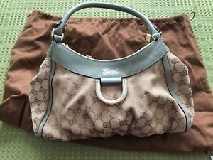 734f62e80 Image is loading GUCCI-Brown-GG-Monogram-Canvas-D-Ring-Abbey-