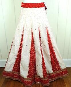 Renaissance Sparkle Red S M Costume Sari Gold Skirt Lehenga Mandala L da 1IFnP