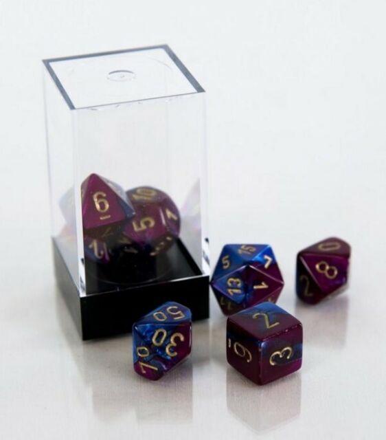 Chessex 26428 Polyhedral 7-Die Gemini Dice Set Blue-Purple