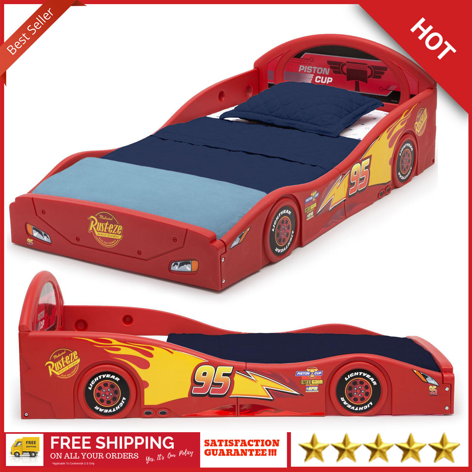 Details About Boys Disney Pixar Cars Lightning Mcqueen Plastic Toddler Race Car Bed Kid Child