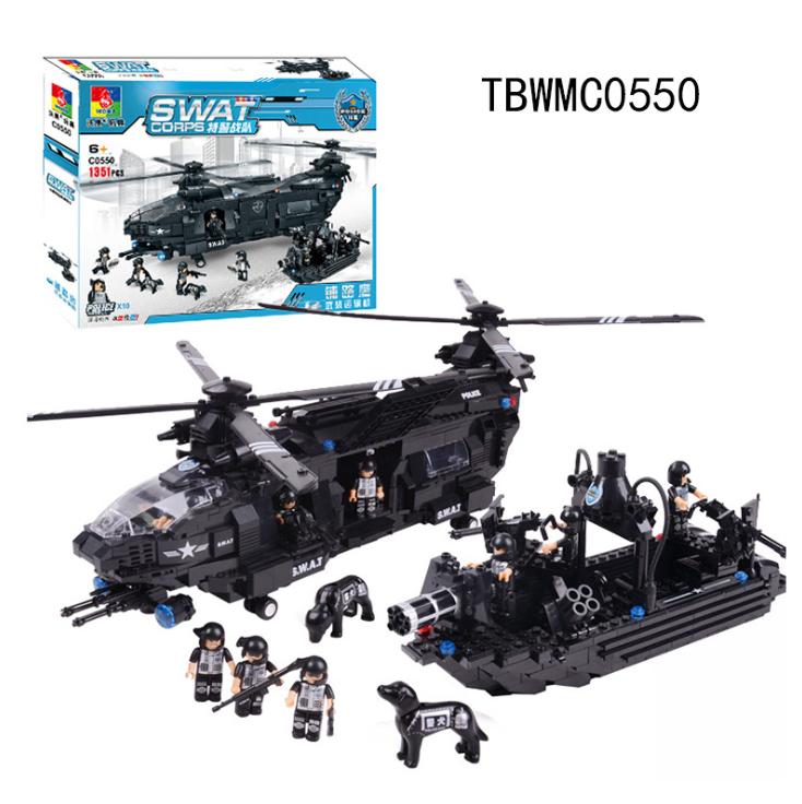 Baukästen Spezialeinheit Serie Ausrüstung Hubschrauber Spielzeug Modell 1351PCS