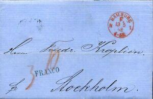 413897) Franco-cachet Rouge K1 Hambourg F. 1868 Sur Taxbrief N. Suède-afficher Le Titre D'origine Parfait Dans L'ExéCution