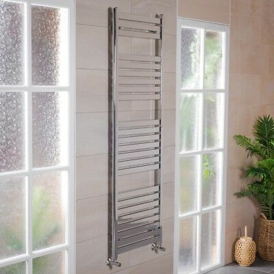 Designer Bathroom Flat Panel Heated Towel Rail Radiator Rad 1800 x 600 - Chrome