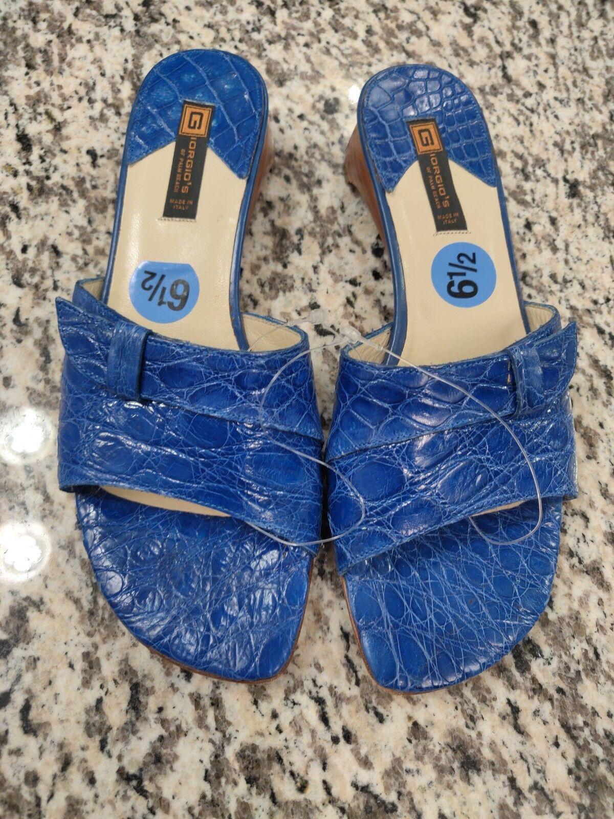 Zapatos de Cuero Giorgio's of Palm Beach Beach Beach Mujer de cocodrilo genuino 6.5 nuevo Tacones Azul  venta caliente