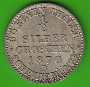 Prussia 1/2 Silver Pennies 1870 B Better Than XF Nice nswleipzig