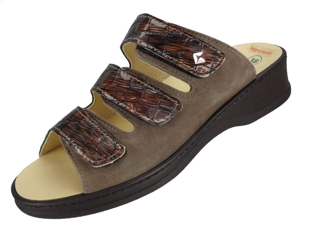 Algemare Damen Pantolette superweit Absatz Sandalette Wechselfußbett 4238_4146