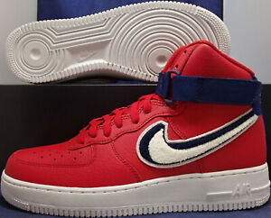 Nike Air Force 1 High 07 Lv8 Chenille Swoosh Gym Red Blue Sz 11