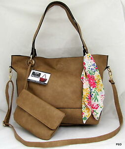 Image Is Loading Nyc By Perlina Faux Leather Tan Shoulder Handbag