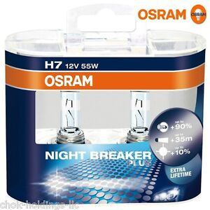 osram night breaker plus h7 car headlight bulbs twin pack