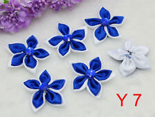 Big Size DIY 5PCS Sapphire Satin Ribbon Flower with Crystal Bead Appliques Trim