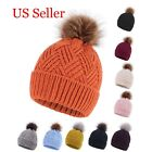 Fashion Women Diamond Weave Knit Pompom Beanie Cap Winter Warm Hat