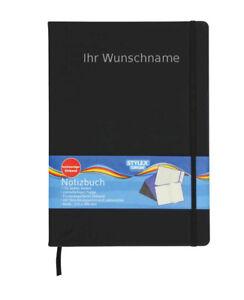 Notizbuch mit Gravur / Kladde / 192 Seiten / kariert / DIN A4 / Farbe: schwarz