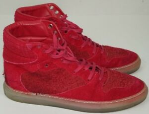 Rouge Baskets Montante 11 Us Balenciaga Hommes Daim Chaussures 44 6fna6q7dx