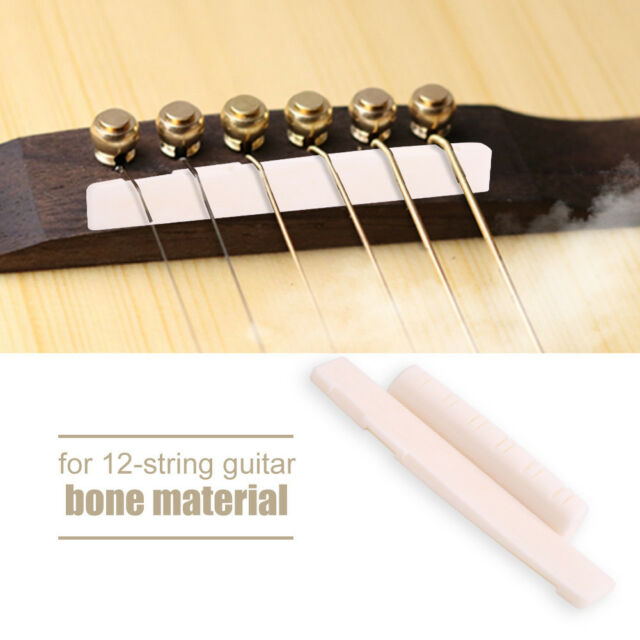 12 String Acoustic Guitar Cattle Bone Bridge Saddle&Nut Replacement Durable NEW