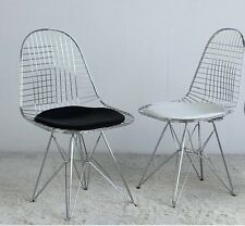 Coronas danesas Eiffel Alambre silla silla acero cojín blanco negro design