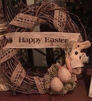 Primitive Happy Easter Grapevine Wreath Burlap Eggs Prim Bunny Rabbit 14