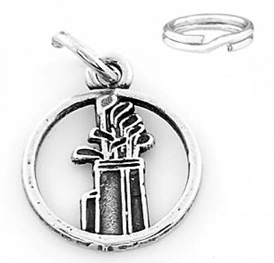 """STERLING SILVER """"GOLF BAG &CLUBS"""" CHARM WITH SPLIT RING"""