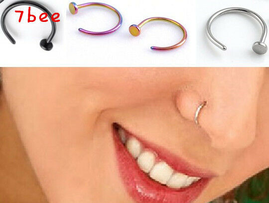 20G 2pcs Hot Stainless Steel Nose Open Hoop Ring Earring Body Piercing Jewelry