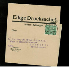 1921 Hamburg Germany Wrapper Cover to  Sachsen