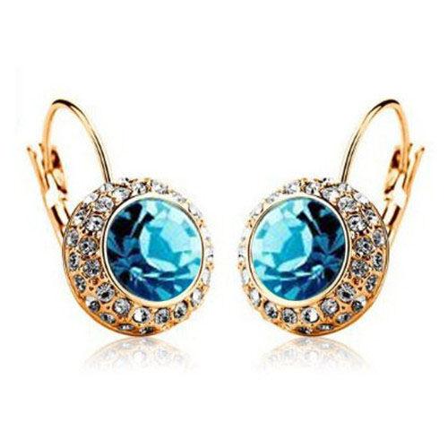 Multi-color-Crystal-Gold-Plated-Ear-Stud-Rhinestone-Hoop-Earrings-Ear-Clip