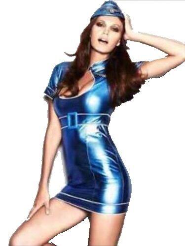 Ann Summers AIR HOSTESS HOTTIE Shiny Blue Costume Outfit Hen Party Fancy Dress