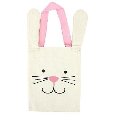 EASTER EGG HUNT PARTY SUPPLIES 1 (ONE)  BUNNY FACE CANVAS TOTE GIFT FAVOUR BAG