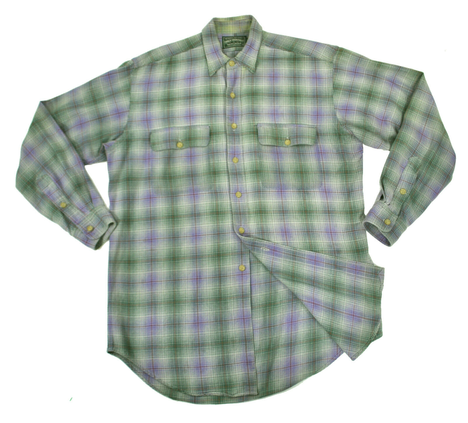 Polo Country Ralph Lauren vtg Cotton Flannel Work Shirt Med Large Purple Green