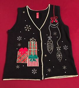 a1dee183f0c Woman UGLY CHRISTMAS SWEATER VEST Size Medium M Embellished Gift ...