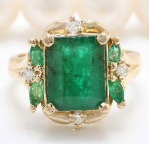 4-20-Ct-Natural-Zambia-Esmeralda-Diamantes-en-14K-Oro-Amarillo-Macizo-de-Mujer
