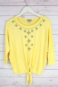 New-One-World-Women-039-s-Self-Tie-Knit-Top-3-4-Sleeve-Blouse-Blue-Yellow-Plus-Sz-S