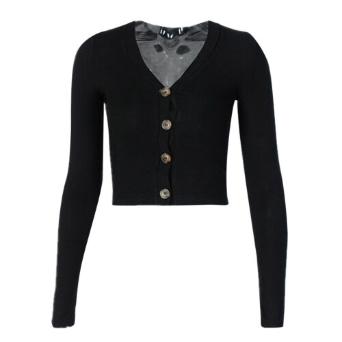 Womens Casual Long Sleeve V Neck Button Down Ribbed Club Crop Top Slim Fit Shirt